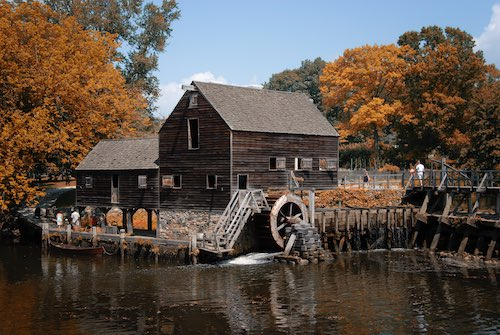The grist mill at Philipsburg Manor Upper Mills, Sleepy Hollow, New York.