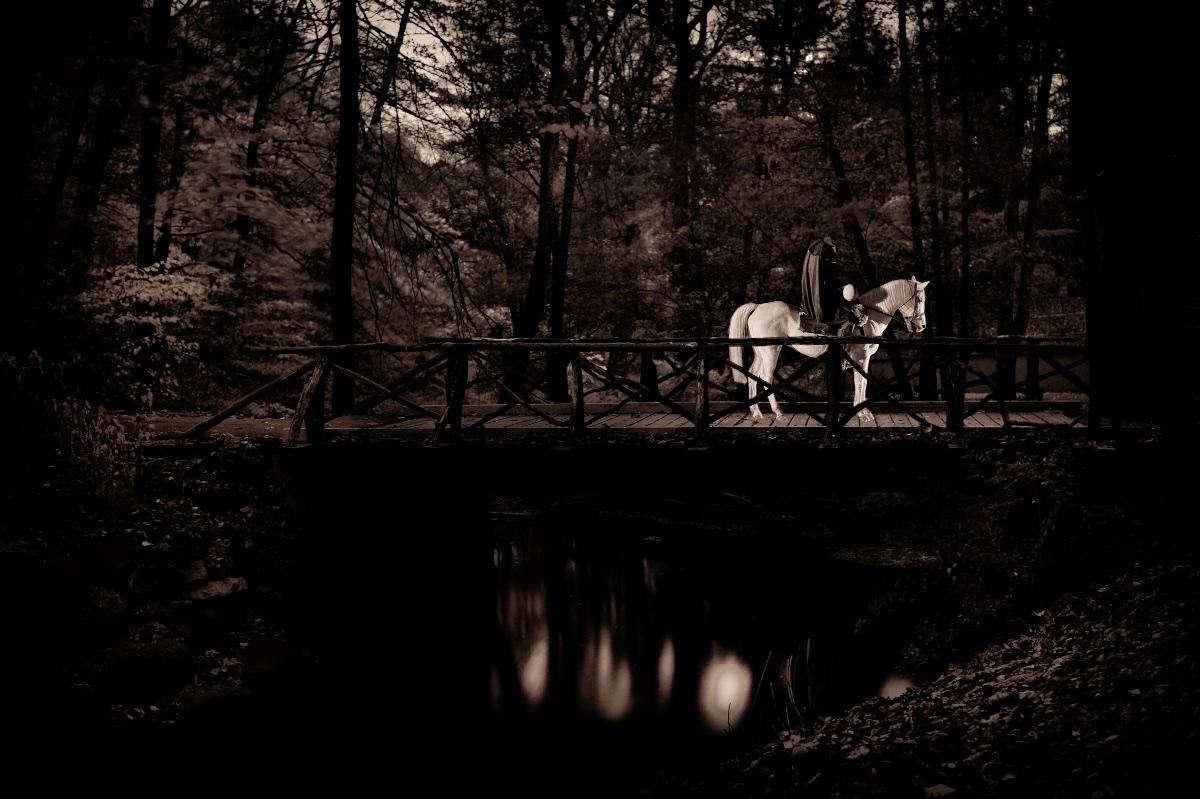 Headless horseman on Sleepy Hollow Cemetery bridge.