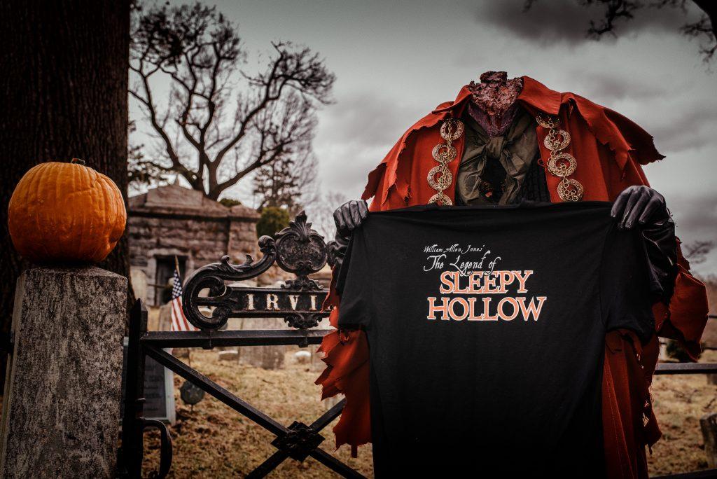 Headless horseman holding t-shirt of The Legend of Sleepy Hollow Musical